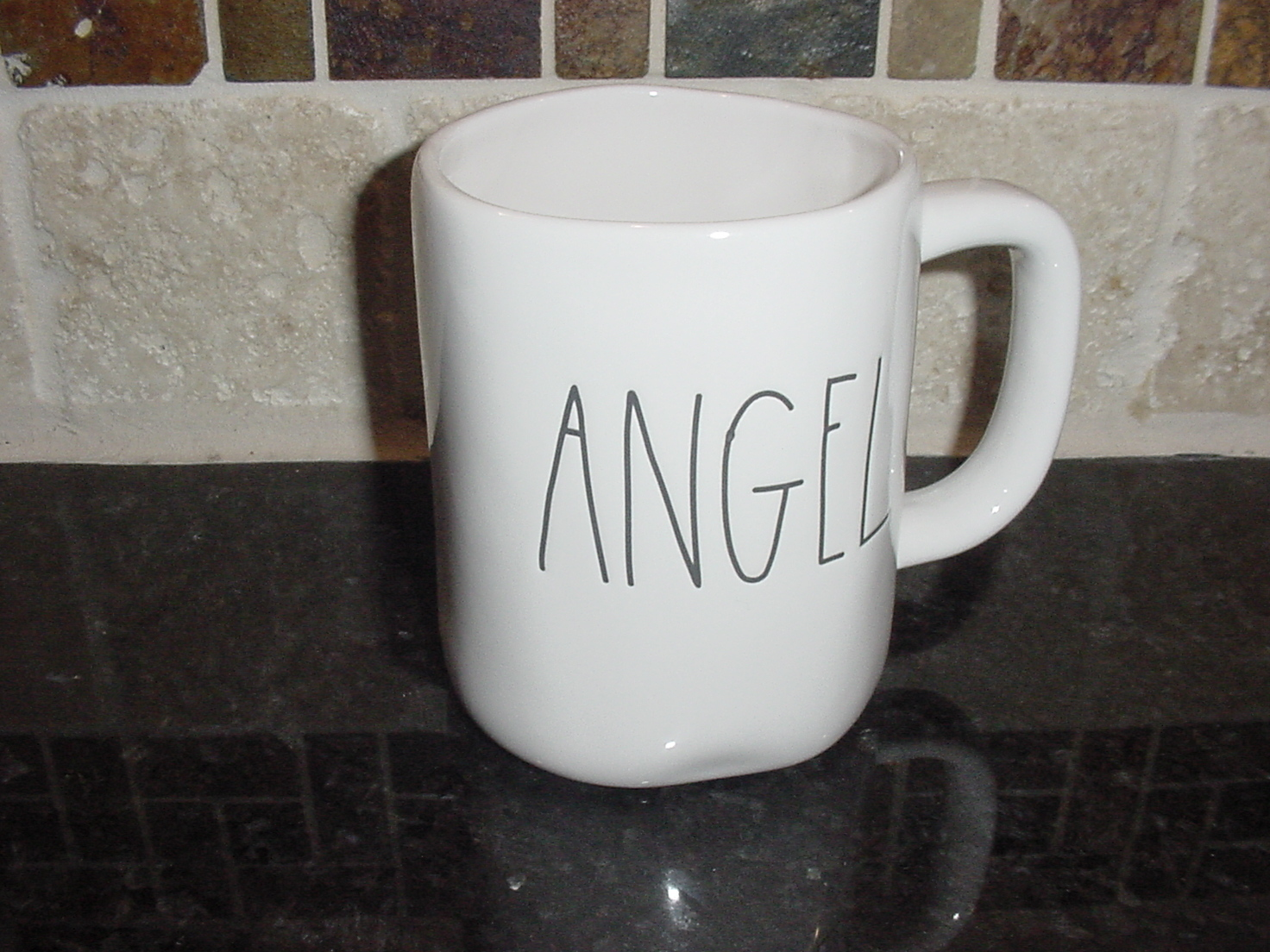 Rae Dunn ANGEL Mug, Ivory with Black Lettering