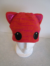 Girls Womens Orange & Pink Knit CAT HAT - Wear different ways. Keeps ears warm! - $5.99