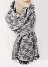 New STYLE&CO Houndstooth Silver Lurex Womens Scarf Shawl Evening Wrap Bl... - €7,16 EUR