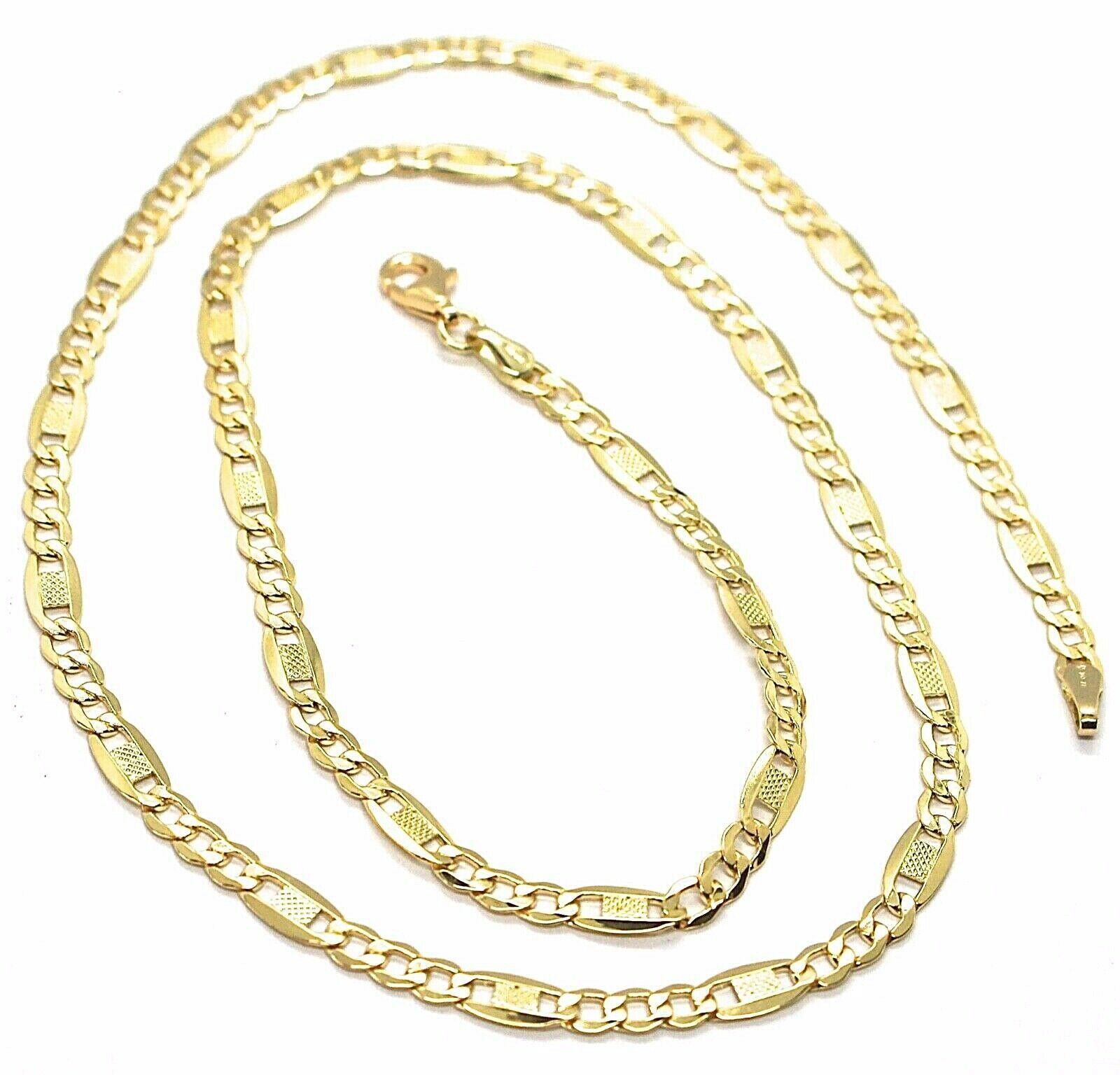 Chain Yellow Gold 18K 750, 50 cm, Curb Flat and Plates Bluebeat, 4 MM