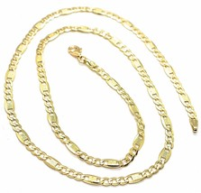 Chain Yellow Gold 18K 750, 50 cm, Curb Flat and Plates Bluebeat, 4 MM - $709.95