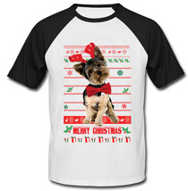 Christmas Yorkshire Terrier - New Cotton Baseball Tshirt - $27.10