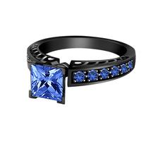 14k Black Gold Finish 925 Real Silver Princess Cut Blue Sapphire Engagem... - £60.44 GBP