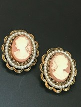 Estate Large Carved Orange Plastic Cameo Rimmed in Faux White Pearl & An... - $15.79
