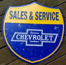 Chevrolet Sales Service Blue Yellow Shield Shape Embossed Metal Advertising Sign - $71.96