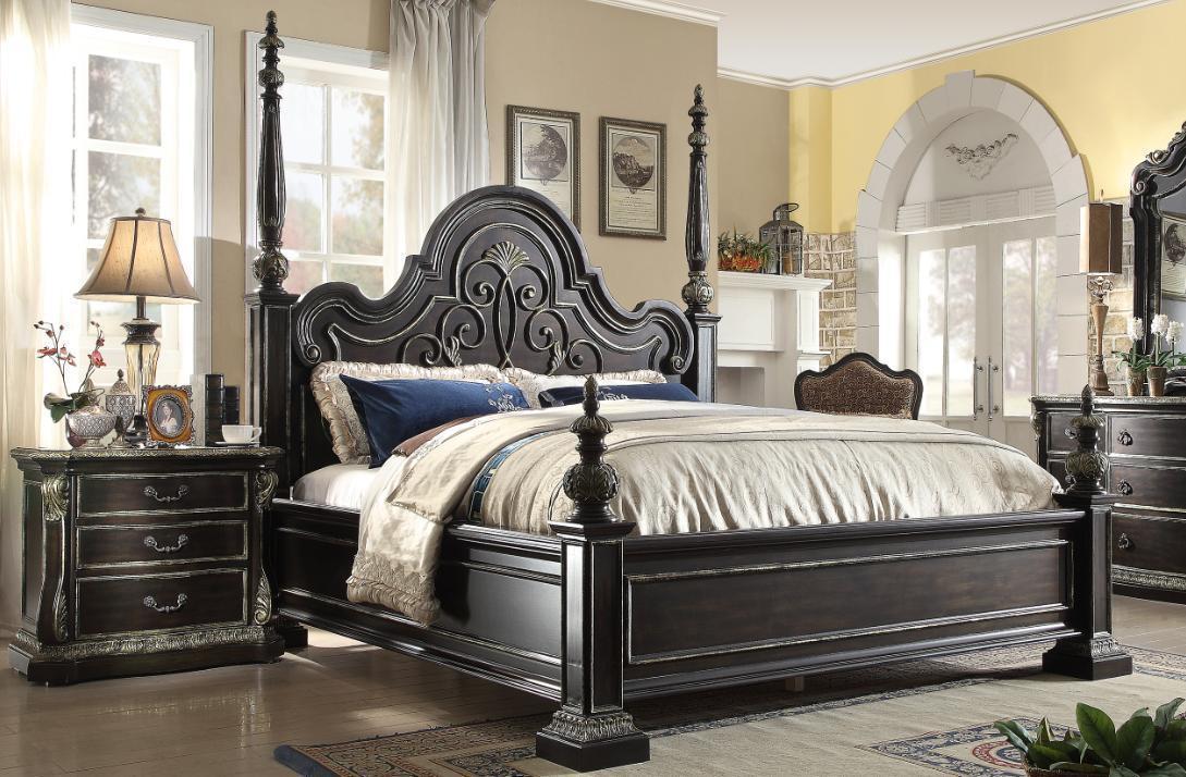 mcferran b5189 ek ebony gothic eastern king poster bedroom set 3pcs carved wood bedroom sets. Black Bedroom Furniture Sets. Home Design Ideas