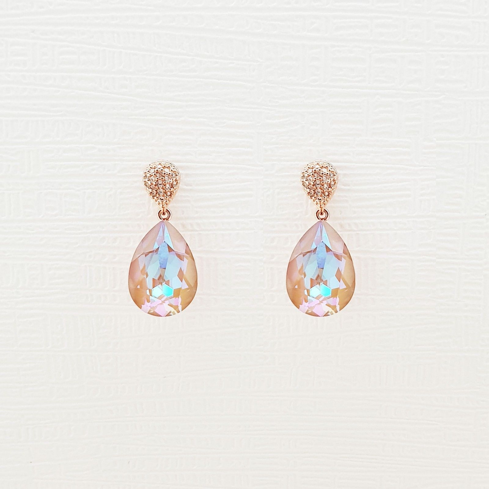 Water Drop Aurora Borealis Made With Swarovski Stone Dangle Earrings 925 Silver image 3
