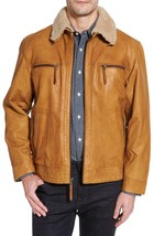 Vintage Choice Trimmed Fur Collar Men Genuine Soft Leather Jacket Biker jacket