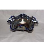 Fenton Carnival Glass Cobalt Blue Ruffled Basketweave Open Edge Amethyst... - $47.03