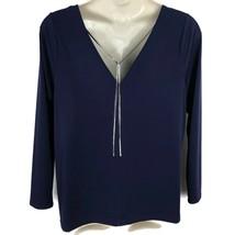 Lane Bryant Blue Deep Back V Neck Top Removable Necklace Long Sleeve 18 20 2X - $20.32