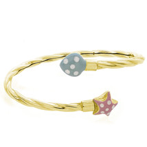 Baby's 14K Yellow Gold With Enamel Details Bangle Bracelet - $385.11