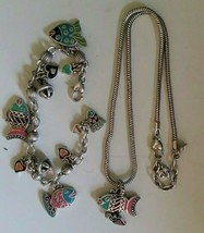 BRIGHTON Retired Colorful Enameled FISH Silver Charm Necklace and Bracel... - $48.00