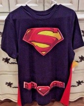 Mens Superman Shirt Detachable Velcro Cape short sleeve Navy Blue Red Tee Size L - $19.99