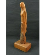 Vintage Art Deco wood carved statue woman silhouette Danish Design - $68.00