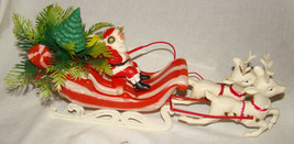 "Vtg CHRISTMAS SANTA CLAUS SLEIGH REINDEER 13.5"" Molded Plastic Decoration - $9.99"