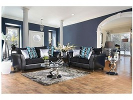 Kalisz Contemporary Style Sofa Set in Two-Texture Design in Black Leathe... - $1,386.00