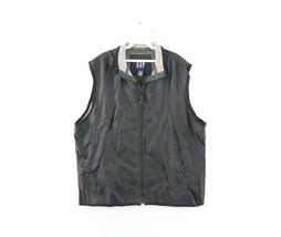 Vintage 90s GAP Streetwear Mens Large Blank Lined Windbreaker Vest Jacket Black - $44.50