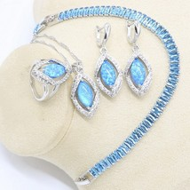 Blue Fire Opal Earrings Necklace Pendant Ring Silver Color Jewelry Set f... - $38.69