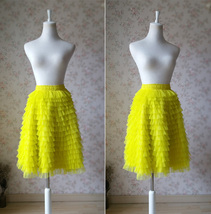 YELLOW Tiered Tulle Skirt Yellow High Waisted Midi Tulle Skirt Tiered Tutu Skirt image 4