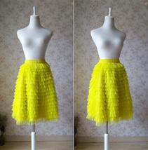Lemon Yellow Midi Skirt Outfit Yellow Tiered Tulle Skirts Ballerina Tulle Skirt  image 4