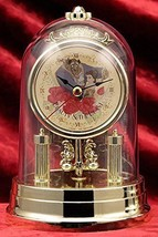 Disney Beauty and the Beast Princess Premium Swing Dome clock gold Bell ... - $58.41