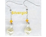 Glass whirl pearl crystal silver plate dangle earrings thumb155 crop