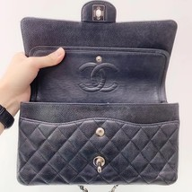 BRAND NEW AUTH Chanel Medium Black Caviar Classic Double Flap Bag SHW image 8