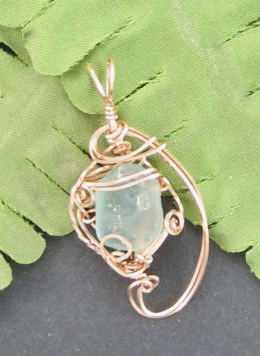 Primary image for SEA GLASS PENDANT ROSE GOLD AQUA COLOR