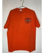 Pre Owned Harley Davidson Orange Flames Uke's Kenosha Sz. Large 2 Sided ... - $27.10