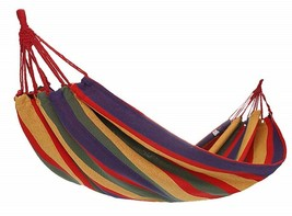 Red Rainbow Durable Cotton Single Brazilian Hammock w/Tree Straps Campin... - $34.65