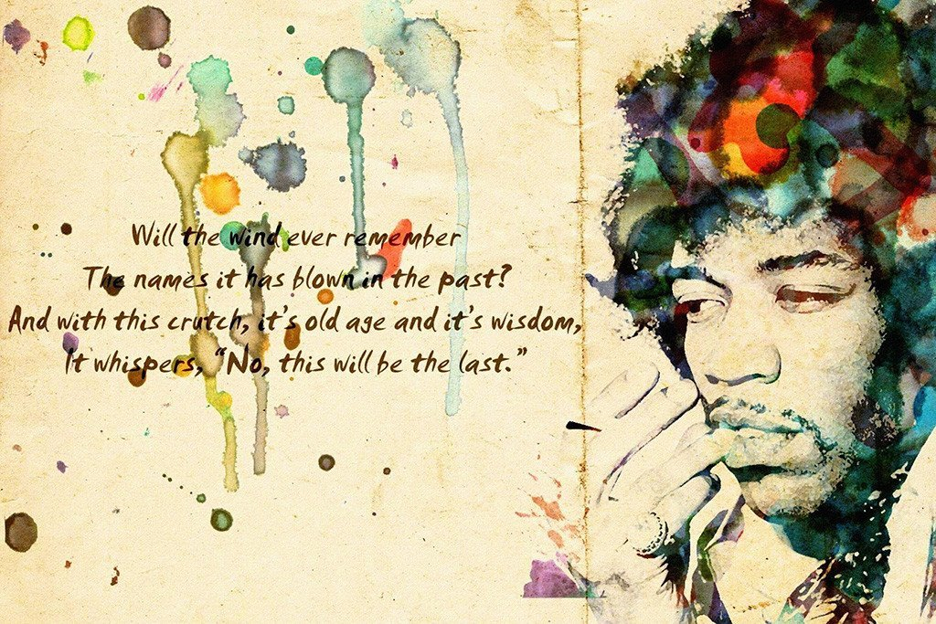Jimi hendrix poster 24x36 quote wind cries mary