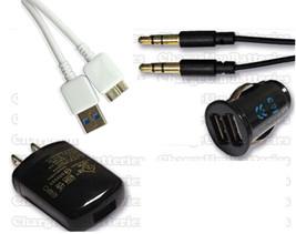 Samsung Galaxy S5 Dual Car Charger + Auxiliary Cable + USB Data Sync Cor... - $14.40