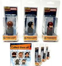 3 Pin Mate Marvel Luke Cage, Jessica Jones, Daredevil Wooden Figures - $9.89