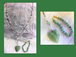 Vintage Faux Plastic Jade Heart Pendant Necklace + Trifari Faux Jade Bra... - €15,29 EUR