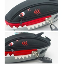 Pencil Case Pen Bag Black Shark With Lock - $13.99