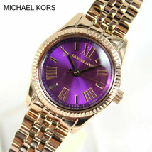 NWT Michael Kors MK3273 Petite Lexington Purple Dial Rose Gold Ladies Watch - $149.99