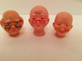 "Doll Heads 2 Grandma And 1 Grandpa Lot Of 3 Pink 2 1/2"" t Crafts - $9.89"
