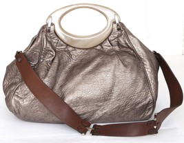 MARNI Tote Shoulder Bag Leather BALLOON Gold Metallic Brown Shoulder Strap - $237.50