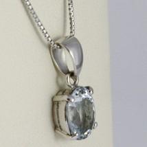 Collar Oro Blanco 750-18K Aguamarina Corte Ovalados CT 2.50 , Cadena Veneciano image 2