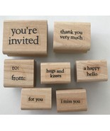 7 Rubber Stamps Sayings Words Phrases Hugs & Kisses Happy Hello I Miss Y... - $5.94