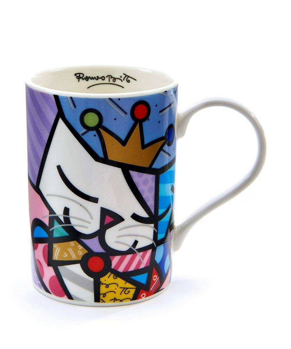 Romero Britto Sugar Cat Mug Gift Boxed 12 oz 10th Anniversary Mug Ceramic Gift