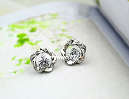 18K White Gold GP Austrian White Crystal Studs Earrings With FB601 - $28.00