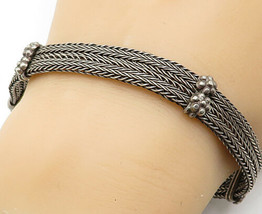 925 Sterling Silver - Vintage Wheat Link Style Two Row Chain Bracelet - ... - $64.33