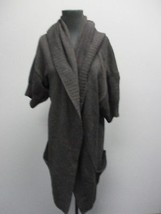 VINCE Dark Gray Short Sleeve Open Front Hooded Sweater Wool Cashmere Sz M CC1877 - $59.39