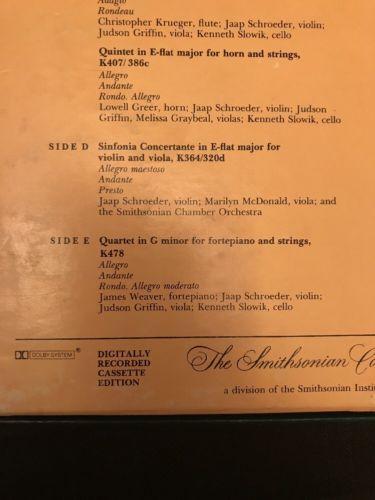 The Smithsonian Chamber Orchestra & String Quartet W.A. MOZART box set-5 cassett