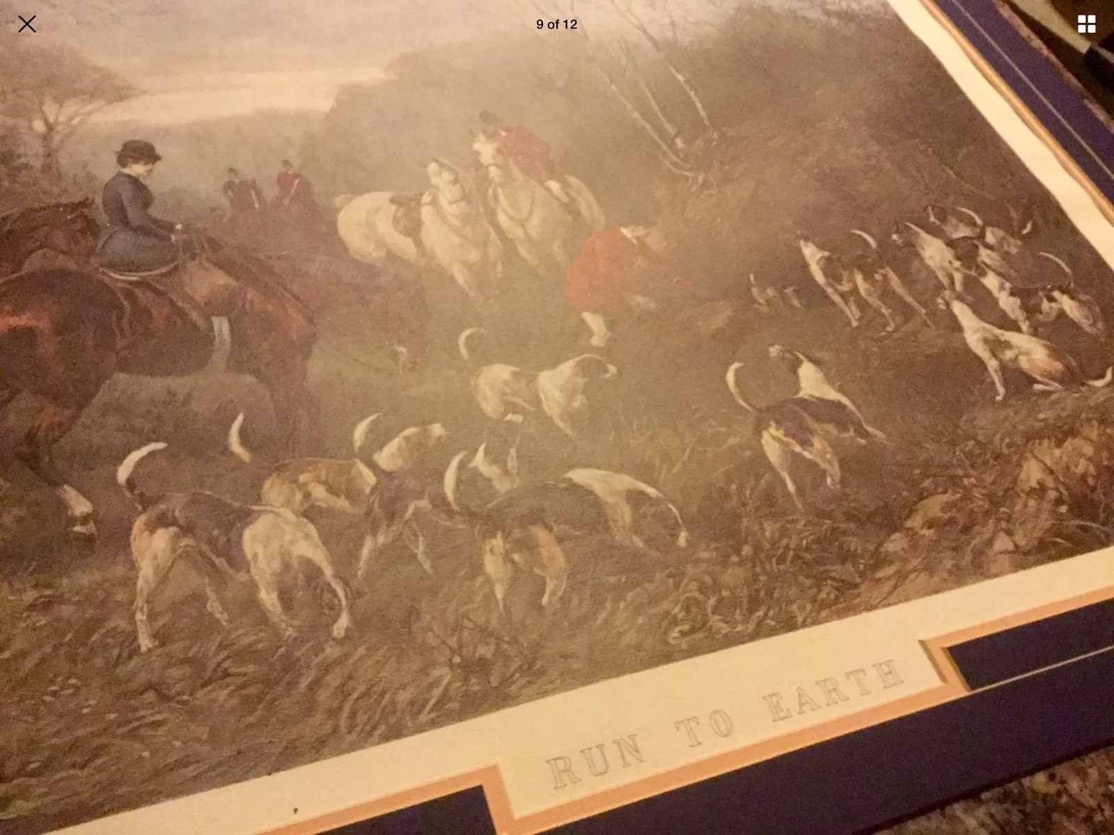 """RUN TO EARTH"" Framed print(1892) Heywood Hardy Art Dogs Horses equestrian wood."
