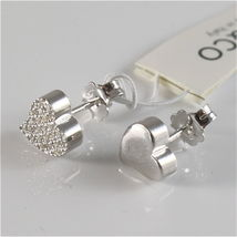 925 RHODIUM SILVER JACK&CO EARRINGS WITH HEART WITH CUBIC ZIRCONIA MADE IN ITALY image 5