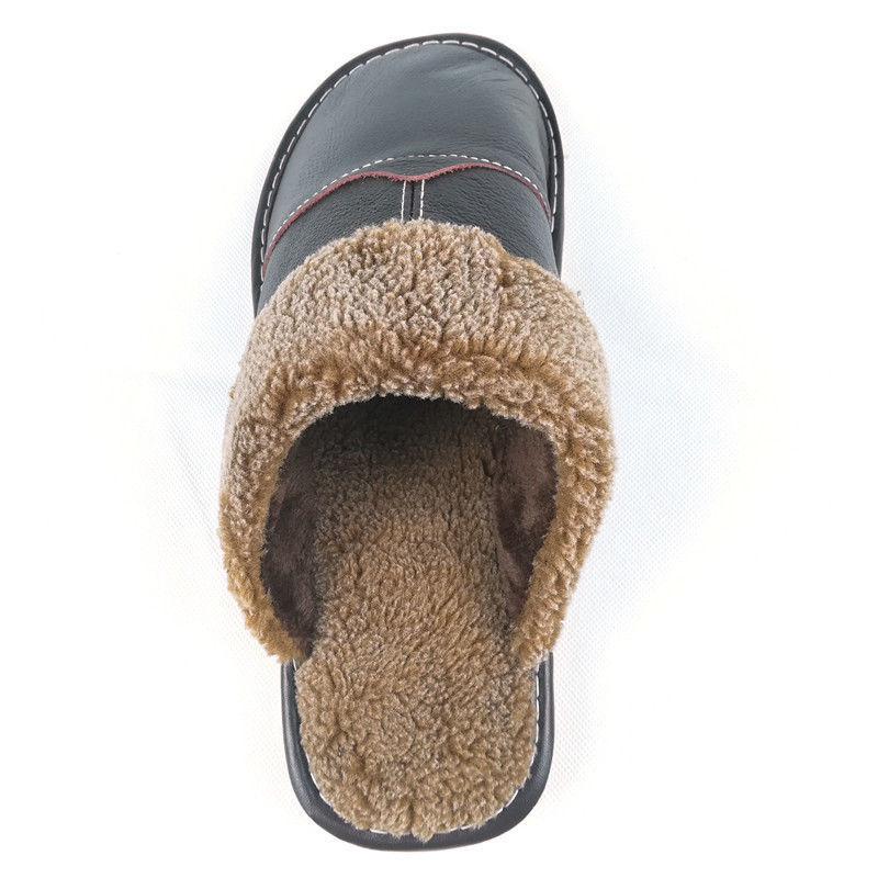 86f5e788f3f Slippers Winter Leather Warm Slippers Men Indoor Christmas Gift Cotton Non  Slip