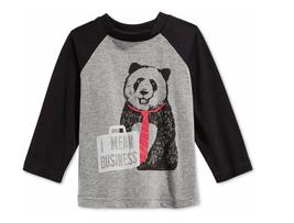 First Impressions Baby Boys' Raglan-Sleeve Panda T-Shirt, Pewter Heather, 18mos - $11.87