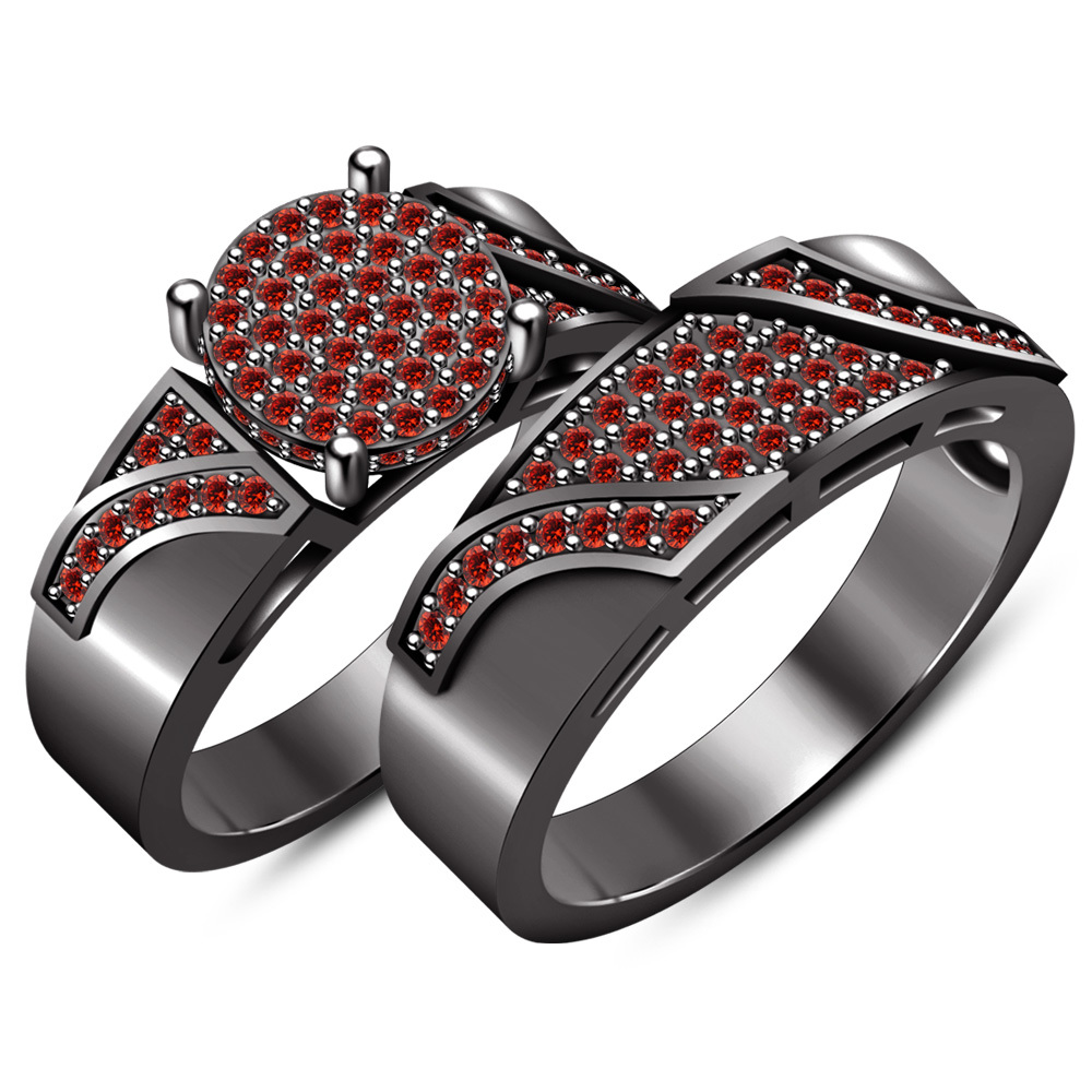 Bridal Engagement Ring Set Round Cut Red Garnet 10k Black Gold Plated 925 Silver